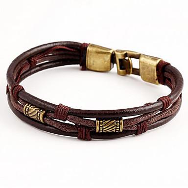 Bracelets Plusieurs Tours Bracelets en cuir Multirang Empilable tissé Cuir dames Multicouches Bracelet Bijoux Noir Marron pour Quotidien Décontracté