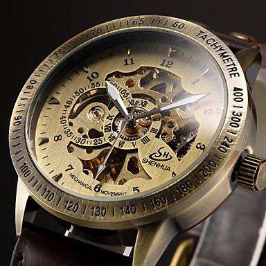저렴한 가죽밴드 시계-남성용 스켈레톤 시계 손목 시계 기계식 시계 오토메틱 셀프-윈딩 사치 중공 판화 아날로그 블랙 브라운 / 가죽