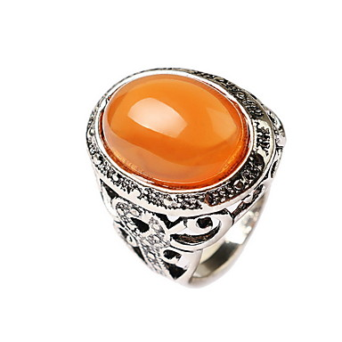 رجالي خاتم البيان برتقالي أخضر جوهرة سبيكة الآسيوي منحوتة النمط الغربي مناسب للبس اليومي فضفاض مجوهرات الحرفيين وردة خاتم كوكتيل
