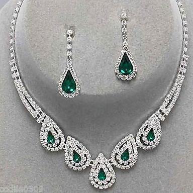 cheap Women's Jewelry-Women's Sapphire Crystal Citrine Jewelry Set Drop Earrings Pendant Necklace Drop Ladies Luxury Party Elegant Bridal everyday Cubic Zirconia Imitation Diamond Earrings Jewelry Black / Sapphire / Light