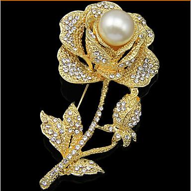 povoljno Broševi-Žene Broševi Cvijet Roses Cvijet dame Luksuz Zabava Moda Biseri Kubični Zirconia Pozlata od crvenog zlata Broš Jewelry Zlato Za Vjenčanje Party Special Occasion godišnjica Rođendan Dar