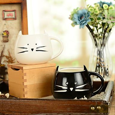 """olcso Bögrék-300ml fekete-fehér aranyos macska állat csésze kreatív vízi bögre (5.1 """"x4.3"""" x3.7 """")"""