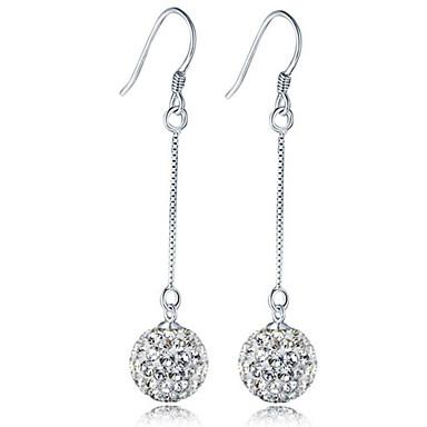 Crystal Synthetic Diamond Drop Earrings Hanging Disco Ball Las Luxury Clic Fashion Sterling Silver Imitation