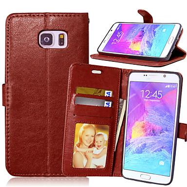 voordelige Galaxy Note 5 Hoesjes / covers-hoesje Voor Samsung Galaxy Note 5 / Note 4 / Note 3 Portemonnee / Kaarthouder / met standaard Volledig hoesje Effen PU-nahka