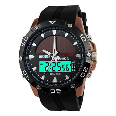 رخيصةأون ساعات الرجال-SKMEI رجالي ساعة رياضية ساعة المعصم طاقة شمسية جلد اصطناعي أسود 50 m مقاوم للماء المنبه رزنامه تناظري-رقمي ترف - أسود فضي بني سنتان عمر البطارية / الكرونوغراف / منطقتا زمنية / Maxell626 + 2025