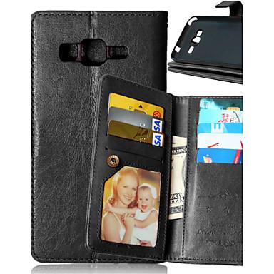 رخيصةأون حافظات / جرابات هواتف جالكسي J-غطاء من أجل Samsung Galaxy J5 / J1 / Grand Prime محفظة / حامل البطاقات / مع حامل غطاء كامل للجسم لون سادة جلد PU