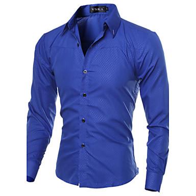 رخيصةأون قمصان رجالي-رجالي عمل الأعمال التجارية أساسي قياس كبير قميص, لون سادة ياقة مفرودة نحيل / كم طويل / الربيع / الخريف