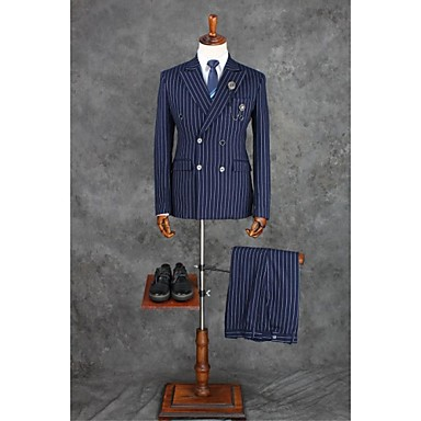 cheap Tuxedos & Suits-Ink Blue Checkered / Gingham Tailored Fit Polyester Suit - Notch Double Breasted Four-buttons / Suits