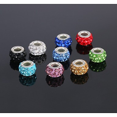 olcso Gyöngyök-DIY ékszerek 5 db Perlice Strassz cink ötvözet Ezüst Hamis gyémánt Kör Round Shape Circle Shape üveggyöngy 1 cm DIY Nyakláncok Karkötők