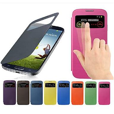 رخيصةأون حافظات / جرابات هواتف جالكسي S-غطاء من أجل Samsung Galaxy S4 Mini مع نافذة / قلب غطاء كامل للجسم لون سادة جلد PU
