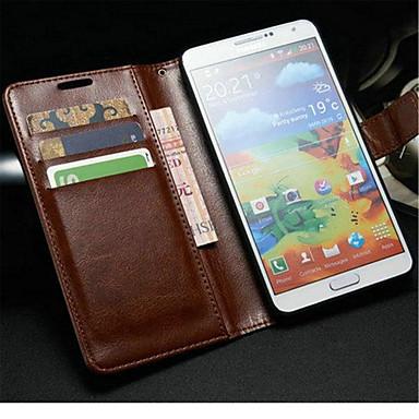 Недорогие Чехлы и кейсы для Galaxy Note 3-Кейс для Назначение SSamsung Galaxy Note 3 Кошелек / Бумажник для карт / со стендом Чехол Однотонный Кожа PU