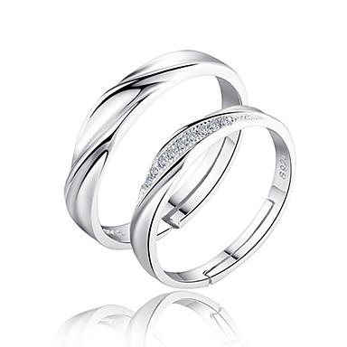 ieftine Inele-Pentru cupluri Inele Cuplu Band Ring Zirconiu Cubic 2pcs Argintiu Plastic Zirconiu Circle Shape femei de Mireasă Nuntă Petrecere Bijuterii Răsucit Iubire Prietenie