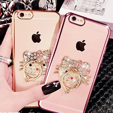 voordelige iPhone X hoesjes-hoesje Voor Apple iPhone X / iPhone 8 Plus / iPhone 8 Strass / Beplating / Ringhouder Achterkant Kat Zacht TPU