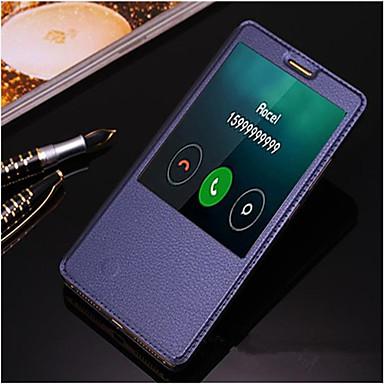 voordelige Huawei Mate hoesjes / covers-hoesje Voor Huawei / Huawei Mate 8 Huawei Mate 8 / Huawei met standaard / met venster / Automatisch aan / uit Volledig hoesje Effen Hard PU-nahka