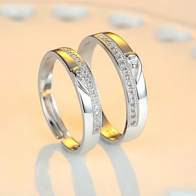 levne Široké prsteny-Pro páry Snubní prsteny Eternity Ring Kubický zirkon 2pcs Srdce 1 Srdce 2 Srdce 3 Stříbro dámy Bling bling Svatební Párty Šperky Dvoubarevné Miláček Nastavitelný