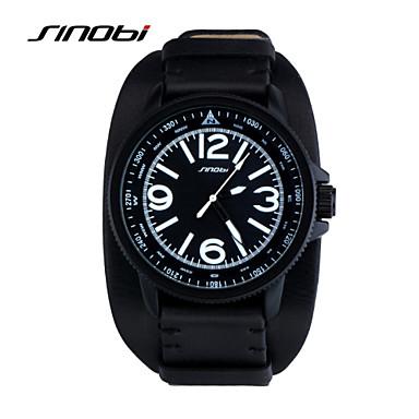 Недорогие Часы на кожаном ремешке-SINOBI Муж. Спортивные часы Наручные часы Кварцевый Классика Защита от влаги Аналоговый Черный / Кожа