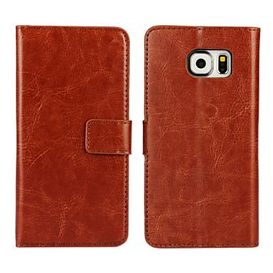 Недорогие Чехлы и кейсы для Galaxy S3 Mini-Кейс для Назначение SSamsung Galaxy S7 edge / S7 / S6 edge Кошелек / Бумажник для карт / со стендом Чехол Однотонный Кожа PU