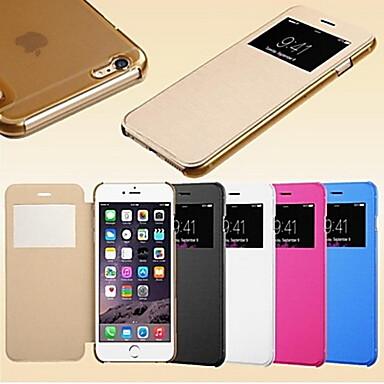voordelige iPhone-hoesjes-hoesje Voor iPhone 5 / Apple iPhone SE / 5s / iPhone 5 met venster / Automatisch aan / uit / Flip Volledig hoesje Effen Hard PU-nahka