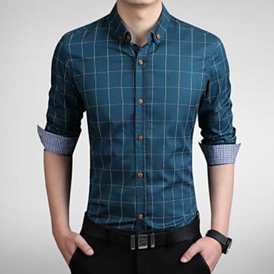 رخيصةأون قمصان رجالي-رجالي عمل الأعمال التجارية طباعة قياس كبير قميص, منقوش ياقة مع زر سفلي نحيل / كم طويل / الربيع / الخريف