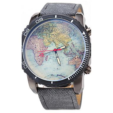 رخيصةأون ساعات الرجال-JUBAOLI رجالي ساعة المعصم خريطة العالم كوارتز جلد أسود / أزرق ساعة كاجوال مماثل كلاسيكي خريطة العالم نمط - أسود أزرق داكن أزرق فاتح