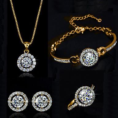 ieftine Seturi Bijuterii De Cristal-Pentru femei Diamant sintetic moissanite Seturi de bijuterii Lănțișor Cercei Solitaire Rundă HALO femei Elegant Cristal Zirconiu Cubic cercei Bijuterii Auriu / Argintiu Pentru Nuntă Petrecere Zi de