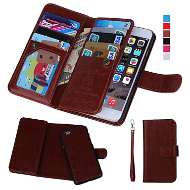 Недорогие Кейсы для iPhone 6-Кейс для Назначение Apple iPhone 8 Pluss / iPhone 8 / iPhone 7 Plus Кошелек / Бумажник для карт / с окошком Чехол Однотонный Твердый Кожа PU