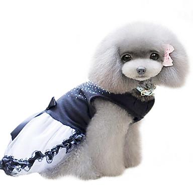 رخيصةأون ملابس وإكسسوارات الكلاب-كلب الفساتين ملابس الكلاب أسود كوستيوم قطن الكريستال / حجر الراين موضة XS S M L XL XXL