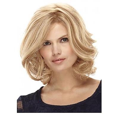 Peruki Syntetyczne Curly Blond Fryzura Bob Z Grzywką Blond Włosie