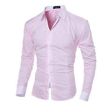 رخيصةأون قمصان رجالي-رجالي عمل الأعمال التجارية / كاجوال قميص, لون سادة نحيل / كم طويل / الربيع / الخريف