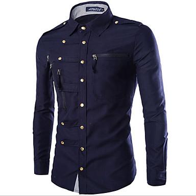 رخيصةأون قمصان رجالي-رجالي عسكري أساسي قميص, لون سادة ياقة كلاسيكية نحيل / كم طويل / الربيع / الخريف