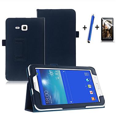 رخيصةأون حالة سامسونج اللوحي-غطاء من أجل Samsung Galaxy Tab 3 Lite مع حامل / نوم / استيقاظ أتوماتيكي / قلب غطاء كامل للجسم لون سادة قاسي جلد PU