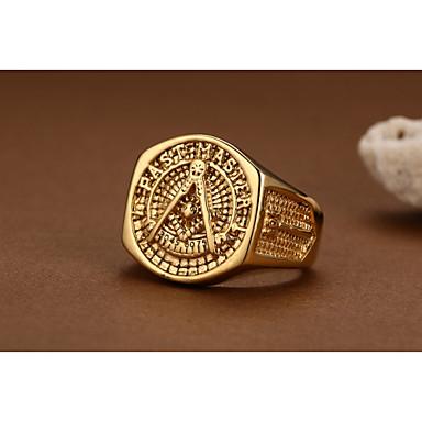 ieftine Inele-Inel de declarație Auriu Placat Auriu Aur Alb Iubire creasta familiei femei Personalizat Stil Vintage 9 10 11 12 / Bărbați / Bărbați