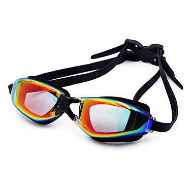 baratos Óculos de Natação-Óculos de Natação Prova-de-Água Anti-Nevoeiro Prescrição Espelhado silica Gel PC Branco Preto Azul Escuro Vermelho Preto Azul