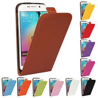 Недорогие Чехлы и кейсы для Galaxy S-Кейс для Назначение SSamsung Galaxy S6 edge plus / S6 edge / S6 Флип Чехол Однотонный Настоящая кожа