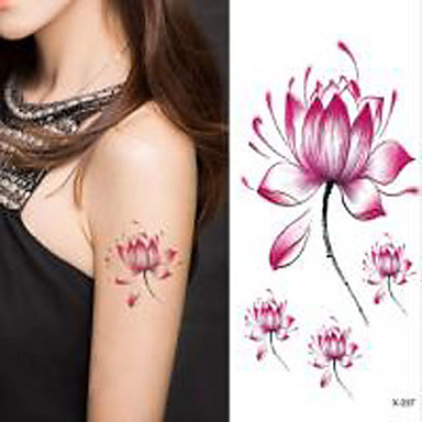 Flor De Loto Halloween 1pc Etiqueta Engomada Del Tatuaje Impermeable