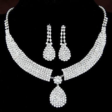 povoljno Komplet nakita-Žene Vedro Sintetički dijamant Komplet nakita Viseće naušnice Ogrlice s privjeskom Ispustiti Teardrop dame Luksuz Elegantno Vjenčan Umjetno drago kamenje Naušnice Jewelry Postavi kvadrat / Set-Chain