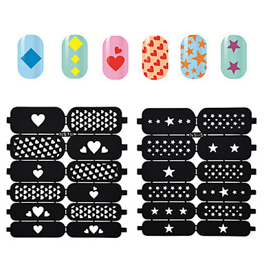 2016 new hollow nail art stamping template stickers reusable stamp