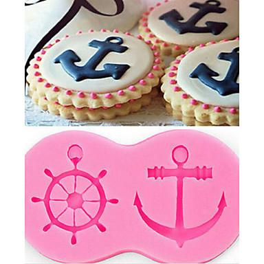 رخيصةأون أدوات الفرن-مرساة السفينة thallium كعكة الشوكولاته العفن سيليكون قالب الحلوى السائل
