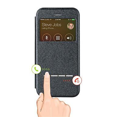 Недорогие Кейсы для iPhone 6-Кейс для Назначение Apple iPhone X / iPhone 8 Pluss / iPhone 8 со стендом / с окошком Чехол Однотонный Твердый Кожа PU