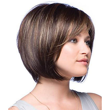 Woman S Vogue Brown With Highlights Straight Short Synthetic Wigs