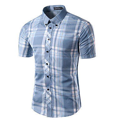 رخيصةأون قمصان رجالي-رجالي طباعة قميص, منقوش ياقة مع زر سفلي نحيل / كم قصير / الصيف