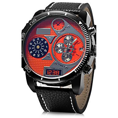 رخيصةأون ساعات الرجال-JUBAOLI رجالي ساعة عسكرية ساعة المعصم كوارتز المتضخم جلد أسود / أزرق / أحمر ساعة كاجوال مماثل سحر - أصفر أحمر أزرق سنة واحدة عمر البطارية / SSUO LR626
