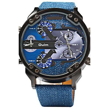 Недорогие Часы на кожаном ремешке-Oulm Муж. Спортивные часы Армейские часы Кварцевый Роскошь С двумя часовыми поясами Аналоговый Синий / Кожа / Steampunk