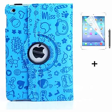 رخيصةأون أغطية أيباد-غطاء من أجل Apple iPad Air دوران360ْ / مع حامل / نوم / استيقاظ أتوماتيكي غطاء كامل للجسم كارتون جلد PU