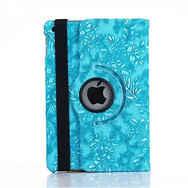 رخيصةأون أغطية أيباد-غطاء من أجل Apple iPad Mini 3/2/1 دوران360ْ / مع حامل / نوم / استيقاظ أتوماتيكي غطاء كامل للجسم زهور جلد PU