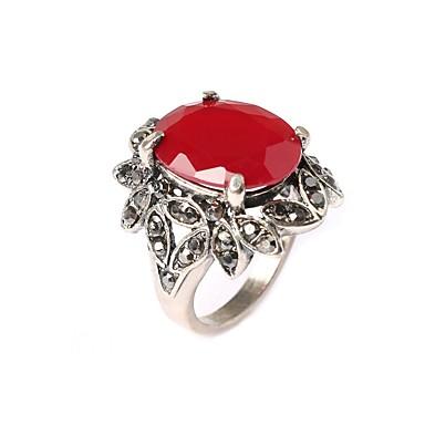 رخيصةأون خواتم-نسائي خاتم البيان أحمر لون الشاشة مطلي بالفضة سيدات موضة مناسب للحفلات مجوهرات خاتم كوكتيل