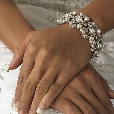 ieftine Brățări-Pentru femei Ivoriu Clasic Temă Clasică Lanț Componentă Clasic & Fără Vârstă Brățări rotunde Imitație de Perle Bijuterii brățară Argintiu Pentru Nuntă Petrecere Ocazie specială Zi de Naștere Logodn