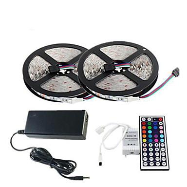ZDM® 10m / 2x5M Bare De Becuri LED Rigide 2*150 LED-uri 5050 SMD 1 44 Controlul telecomenzii / 1 cablu AC / Adaptor 3 x 12V 3A RGB Ce poate fi Tăiat / Rezistent la apă / Decorativ 1set / IP65