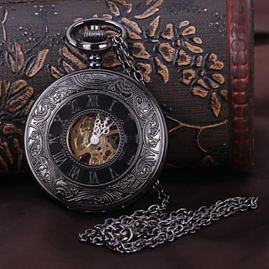 رخيصةأون ساعات الرجال-رجالي ساعة جيب ووتش الميكانيكية داخل الساعة أتوماتيك أسود نقش جوفاء مماثل ترف Steampunk - أسود
