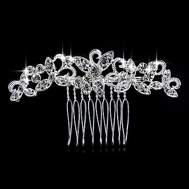 olcso Hajékszerek-Női Elegáns Kristály Hamis gyémánt Ezüst Fésűk Esküvő Parti